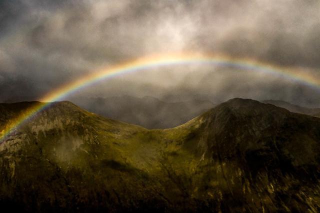 Rainbow after rain storm in Glencoe, Scotland